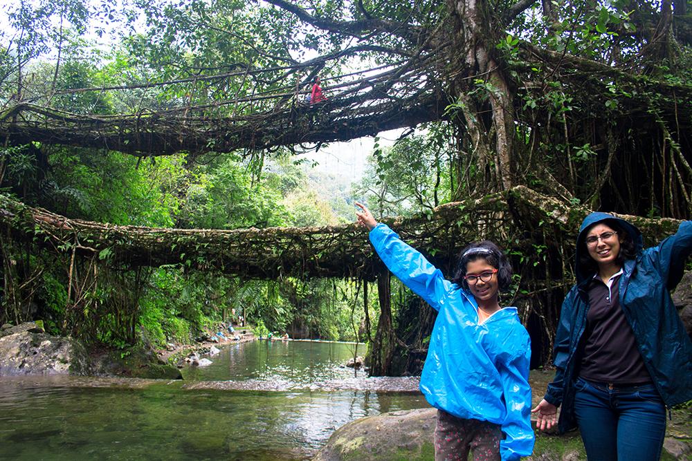 At Double Decker Living Root Bridge