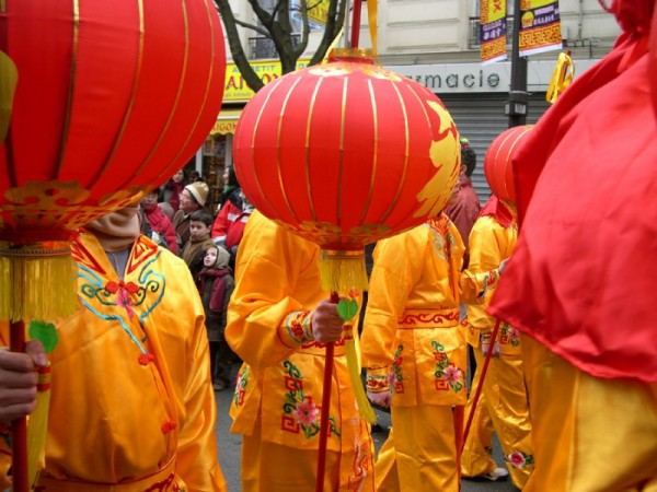 Men with chinese lantern as their head