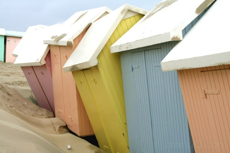 Small huts on the beach