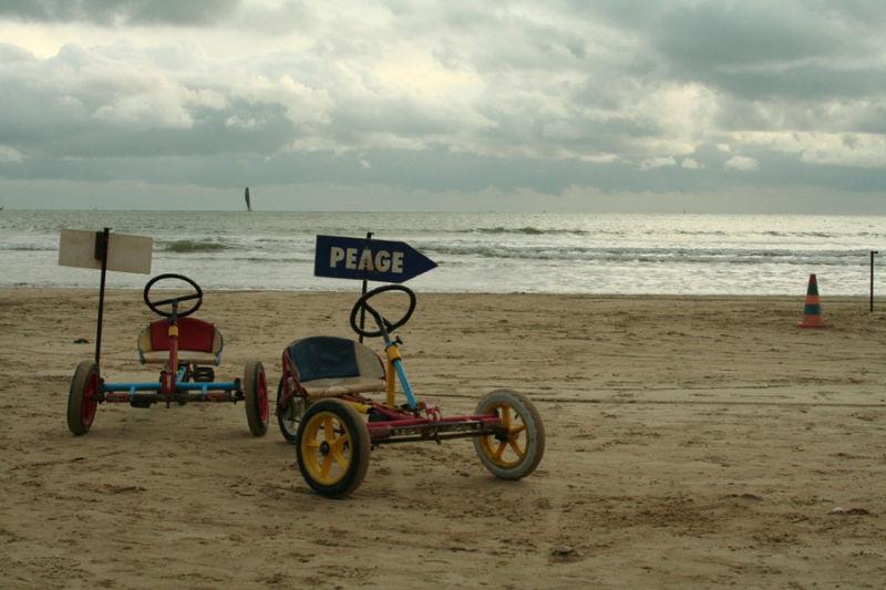 small cars on the beach