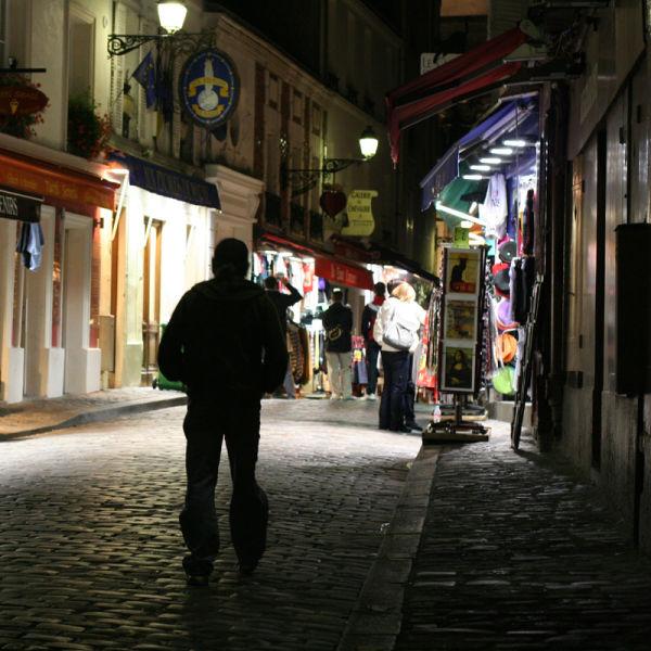 a street in Montmartre night