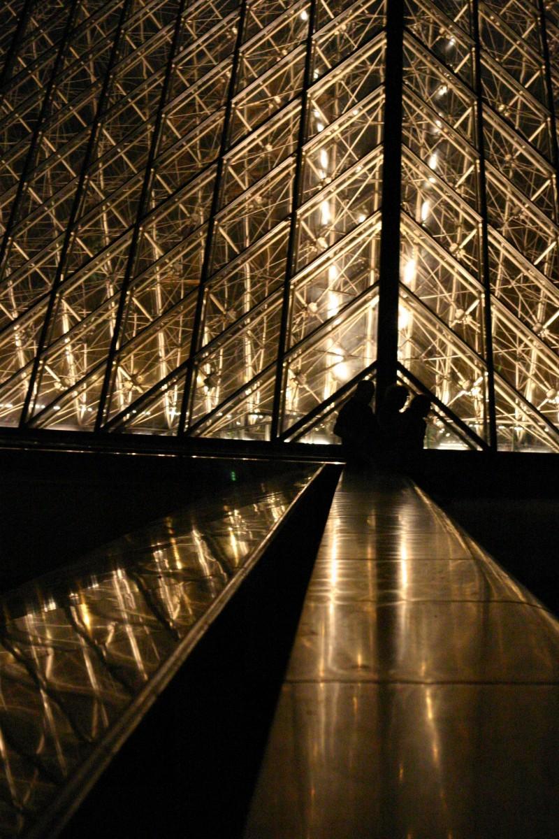 The pyramid at night