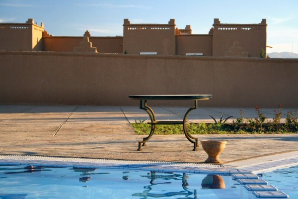 Table, pool and wall.