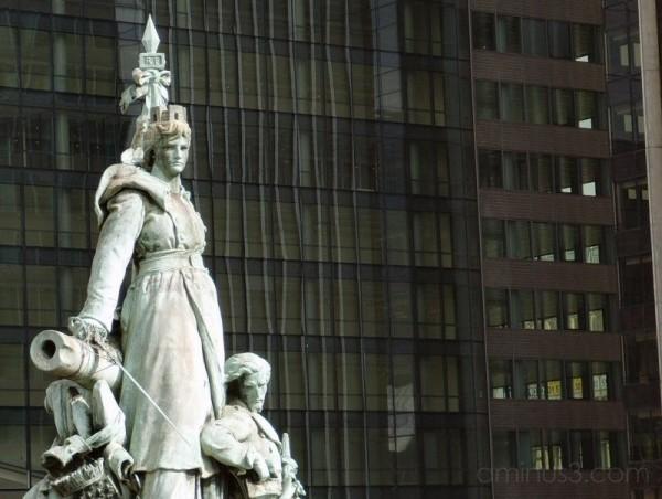 A statue on esplanade