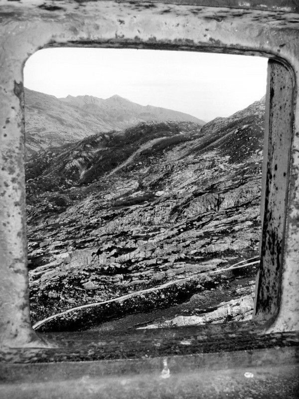 Through the window of the bunker