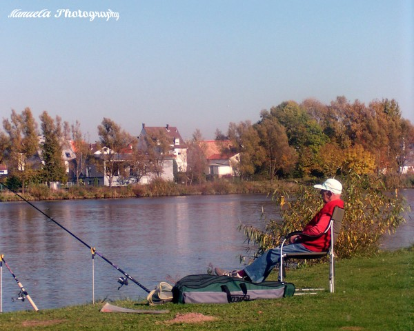 man, river, shore, fishing, relaxing, asleep