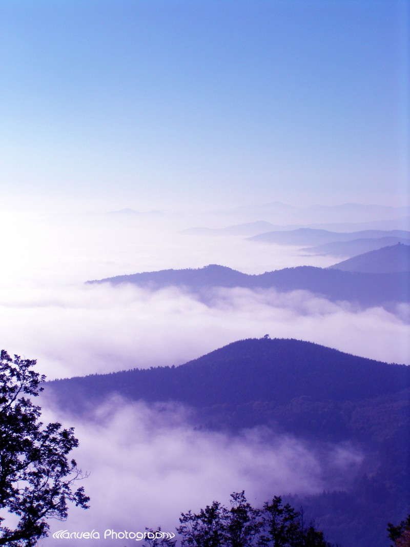 hill, mountain, sky, fog, view, window, panorama