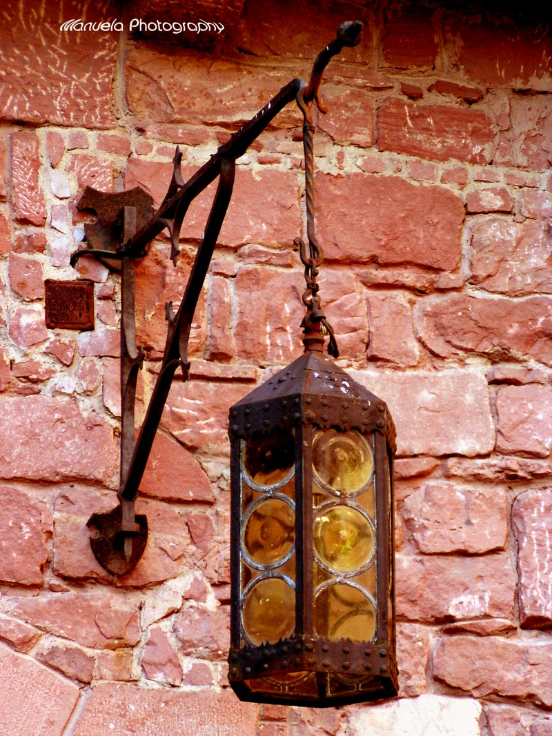 lamp, rust, castle, light, candle, brick stone