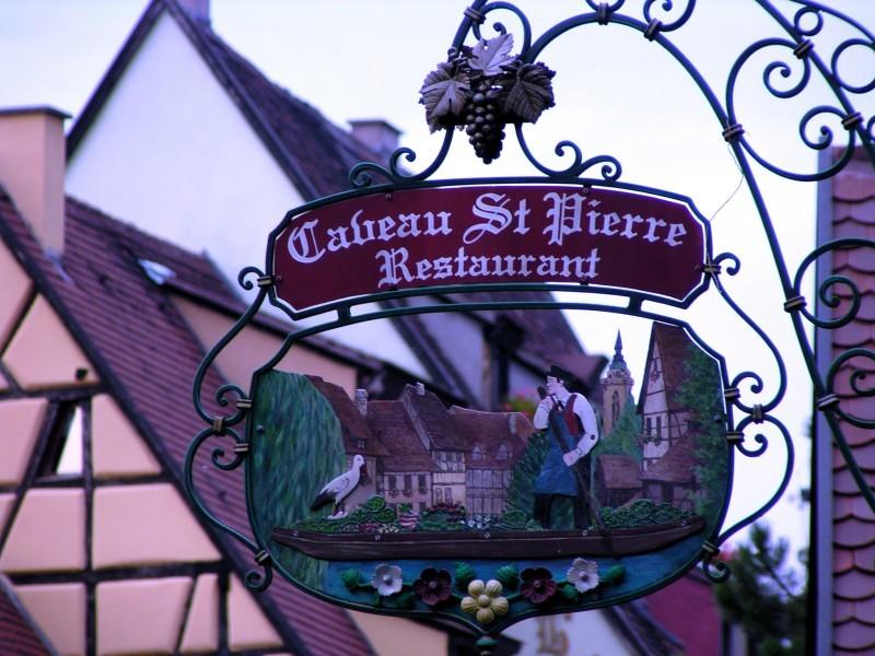 caveau restaurant shop door sign alsace france