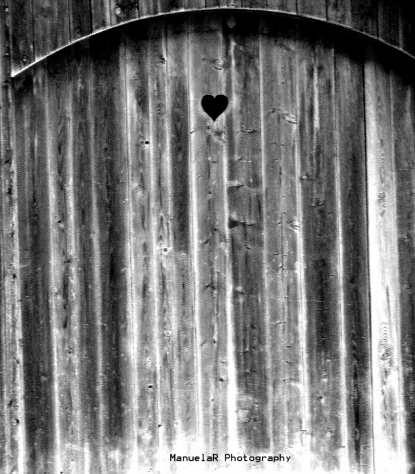 heart wood door cabin forest bavaria germany