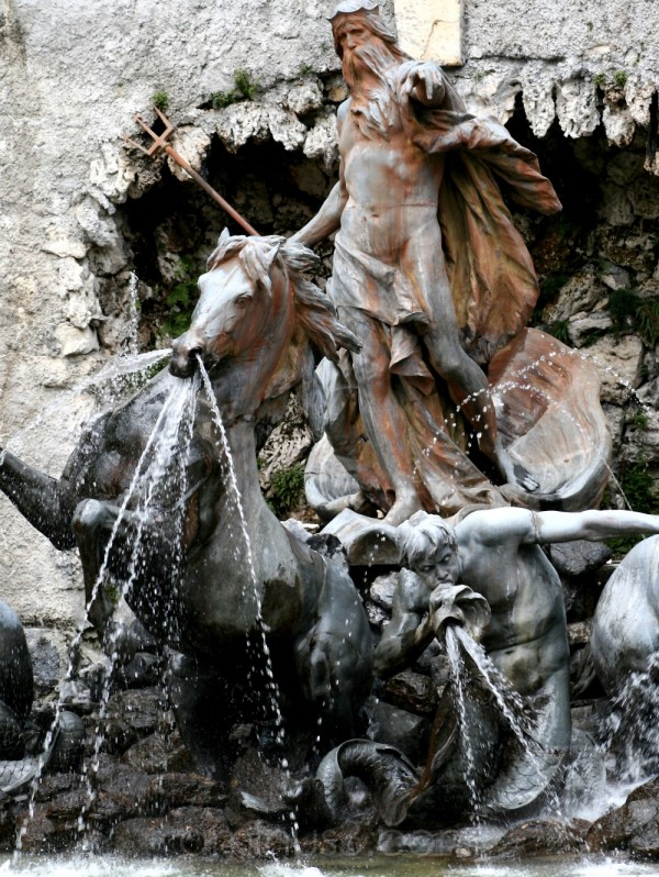 neptune fountain stone statue horse germany