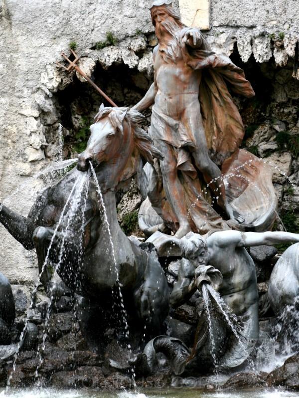 neptune fountain stone statue horse germany