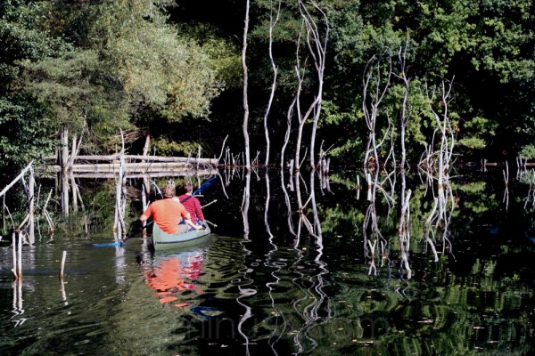 lake water shore reflection stone pit germany