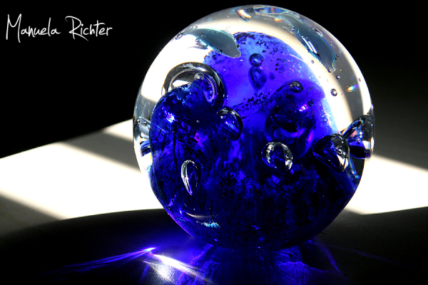 crystal glass bubbles blue light germany