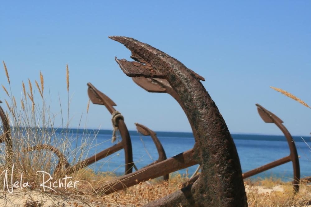 beach dune sand anchor barril portugal sea