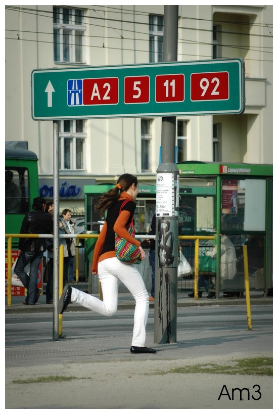 Woman running for bus