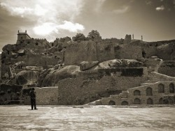 A photographer trying to capture Golconda Fort
