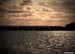 Train on Susquehanna river bridge