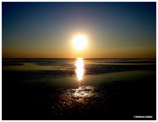 Sunset on atlantic ocean