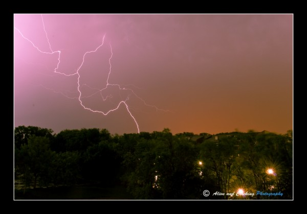 Skies open and the lightning strikes