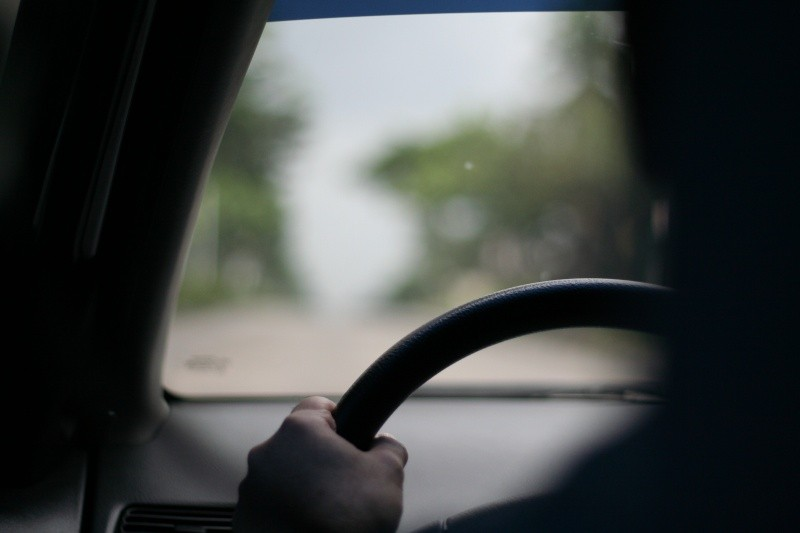 My dad on the steering wheel
