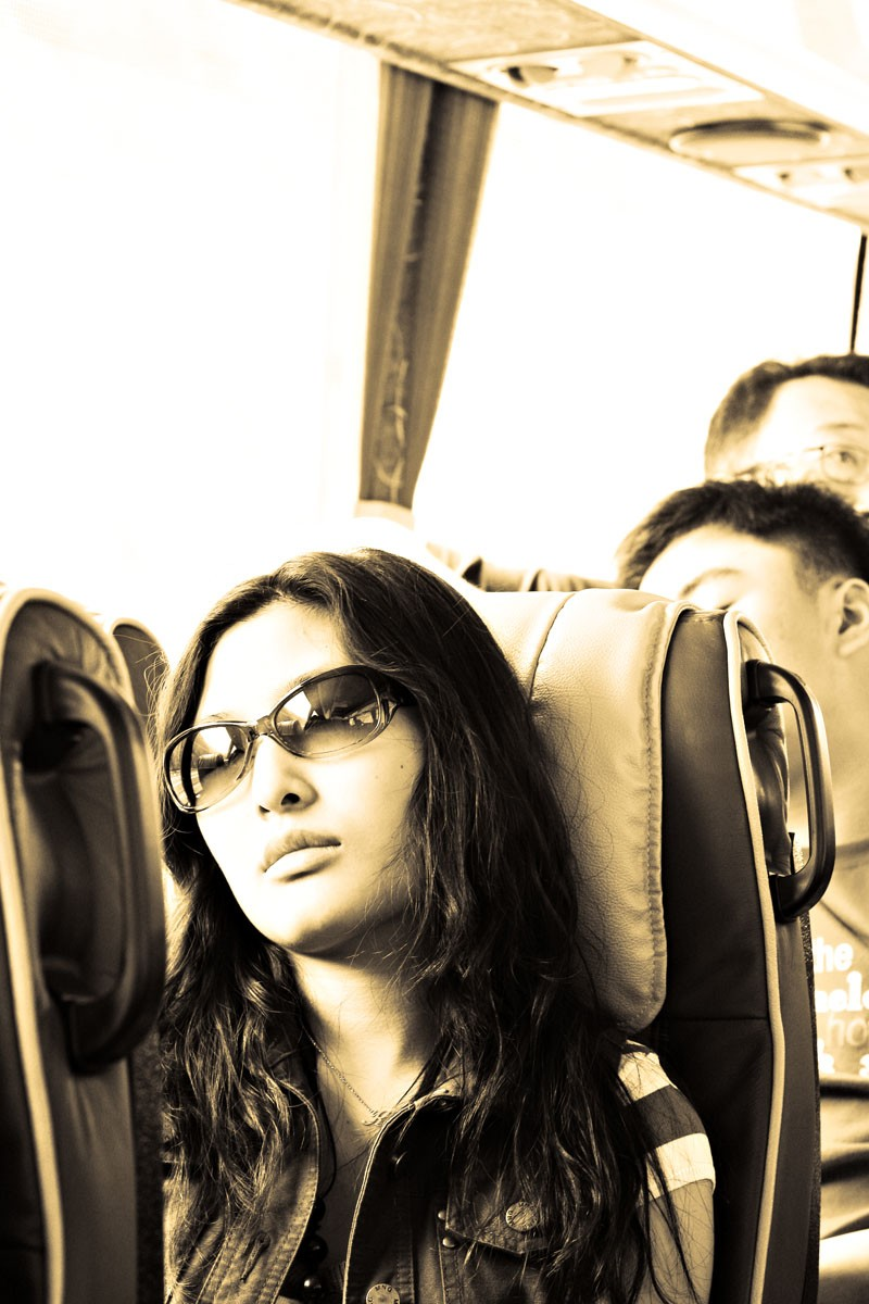 Sleeping in the bus