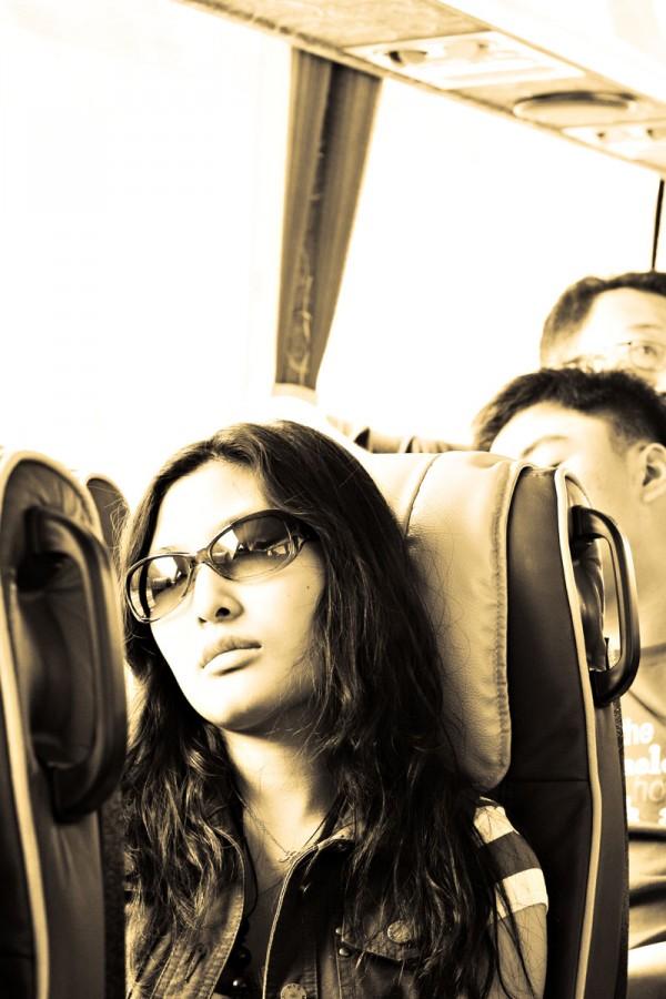 Sleeping in the bus