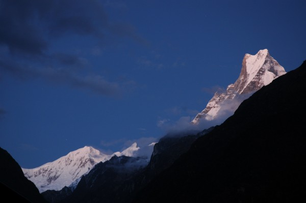 Fishtail mountain under the moonlight