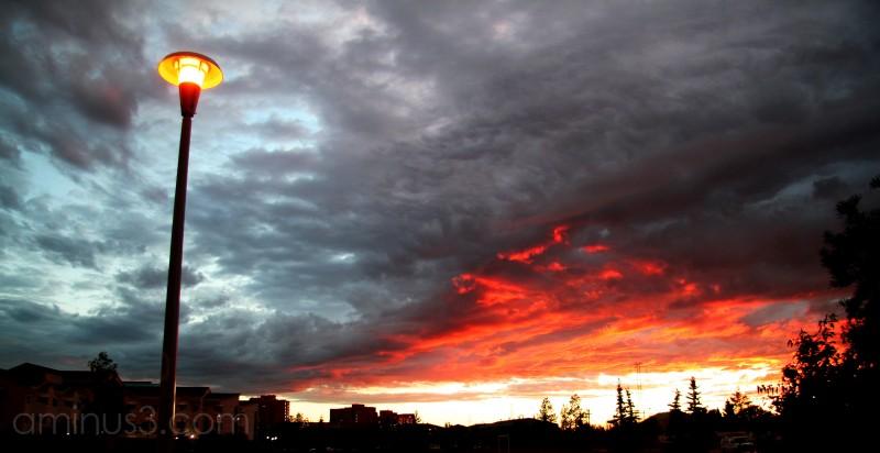 sunset dark sky