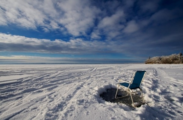 Lwan chair set up for ice fishing