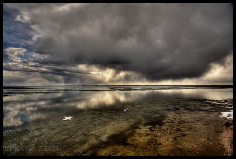 Storm clouds over Pigeon Lake, Alberta