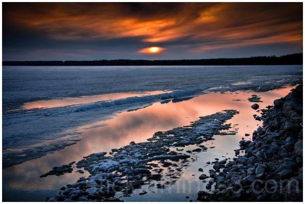 Thawing ice on lake