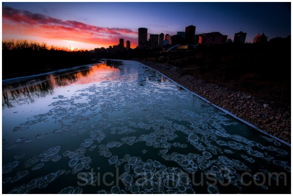 Pancake ice rolling through Edmonton
