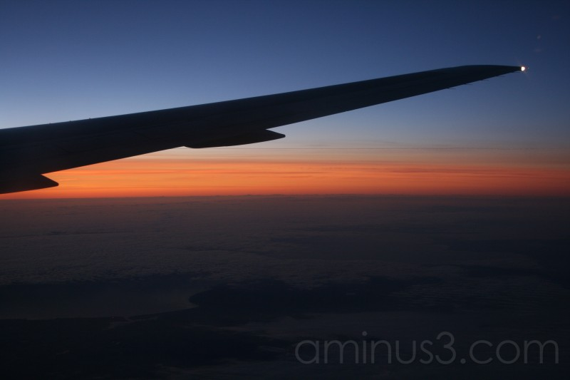 Sunrise over Europe at 30000 ft