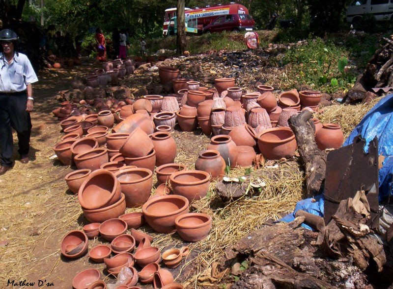 Earthenware pots, Nuvem Church Fair, Goa, India