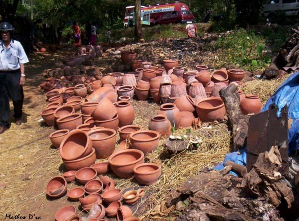Earthenware pots, Nuvem Church Fair, Goa, India