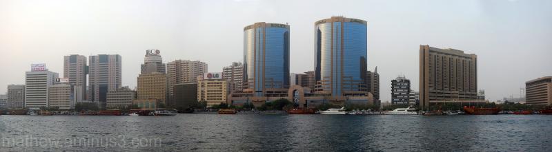 Panorama of Dubai creek on the Deira side
