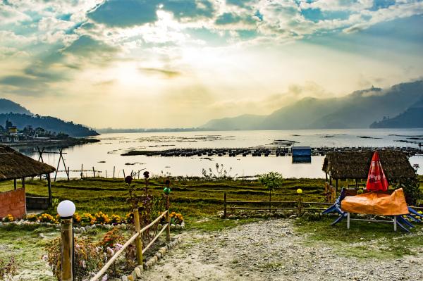Sunrise over the Pokhara lake