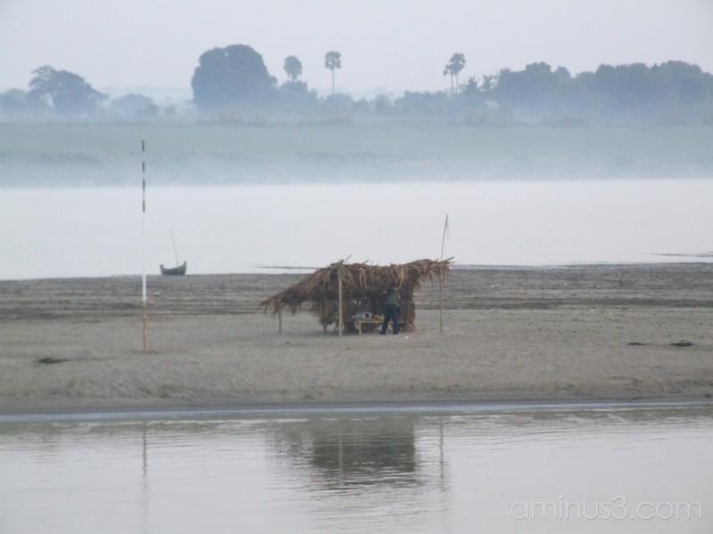 Hut on the banks of the Ayeyarwady