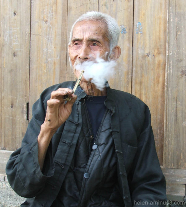 Old man smoking