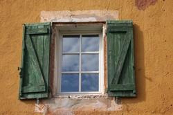 window - green shutters