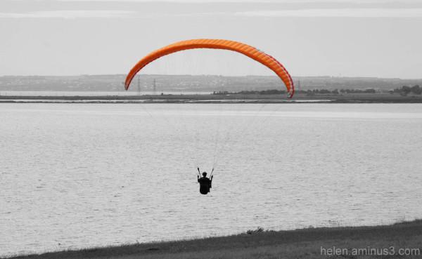 Lone paraglider B&W