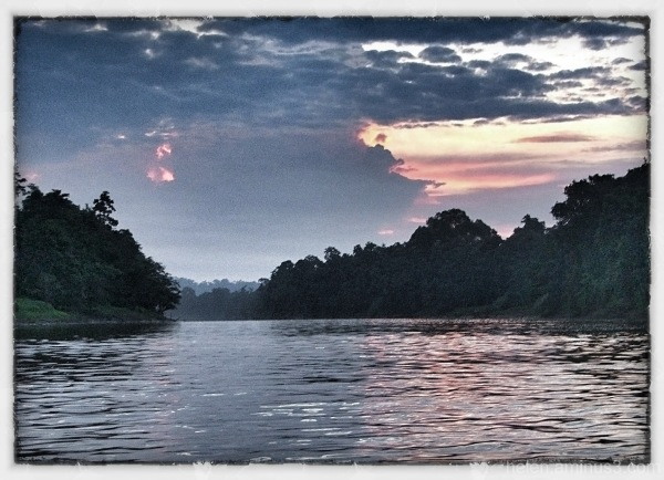 Dawn on the Kinabantagan River, Borneo