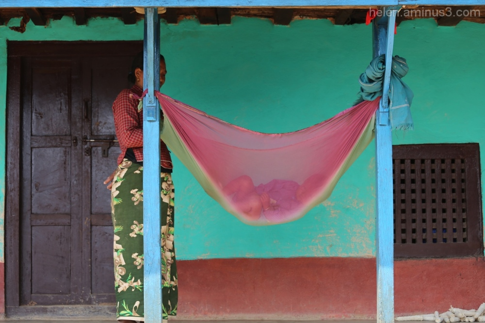 Nepal2015 Rocking the baby Nepal