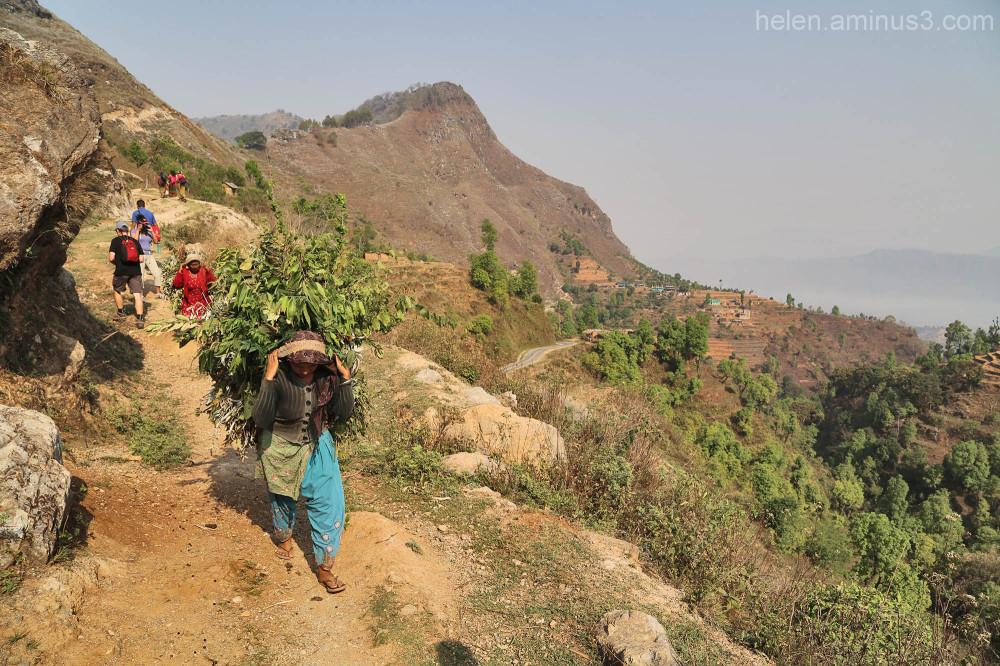 Walk trail hike mountain vaillage nepal Ramkot