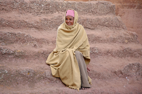 Woman on the stairs, Lalibela