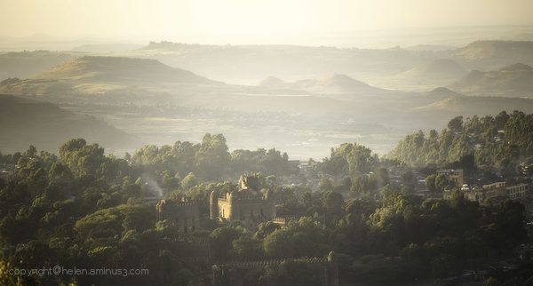The sun rises over Gondar