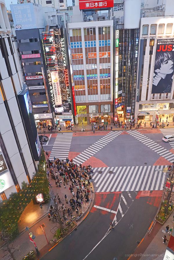 Looking down on Tokyo street