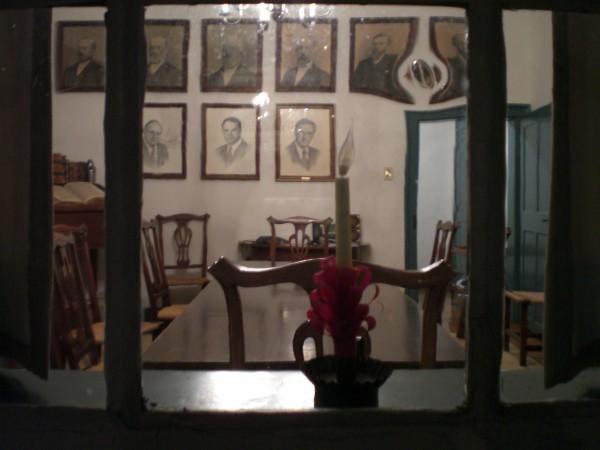 looking in a window in Old Salem