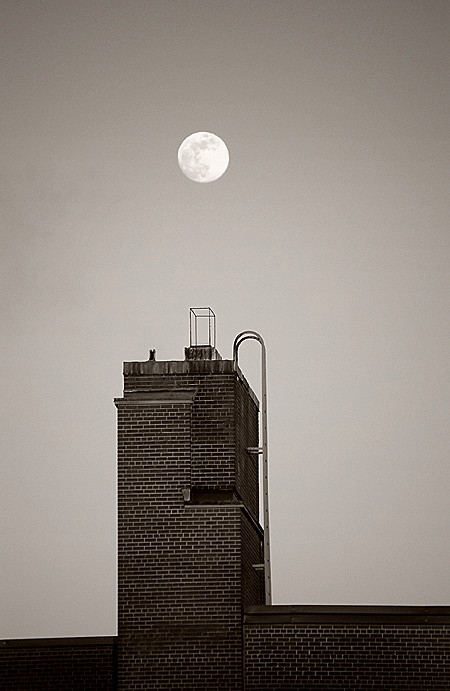 Moonrise over building in Montreal, Quebec